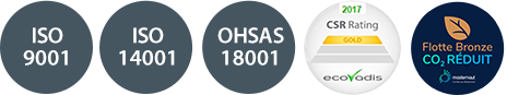 Certifications ISO 9001 ; ISO 14001 ; OHSAS 18001 ; Ecovadis CSR Gold